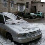снег упал на авто